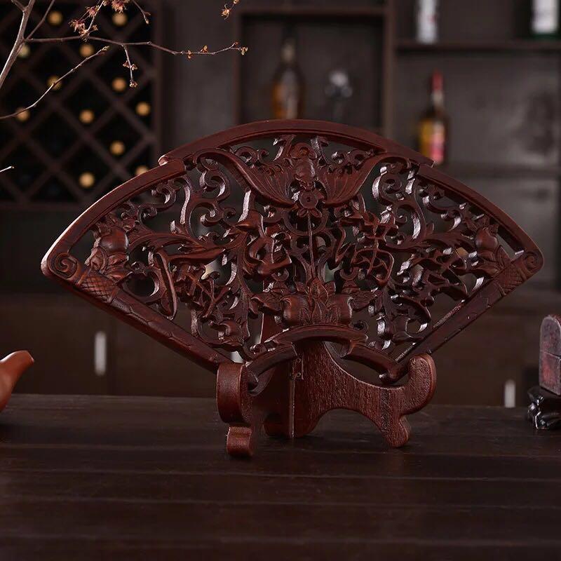 扇形挂件东阳木雕中式仿古客厅背景摆件