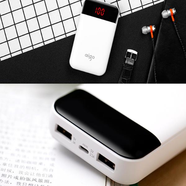 爱国者(aigo)E10000+充电宝超薄小巧便携10000毫安移动电源双输出适用于苹果华为小米 白色优惠券