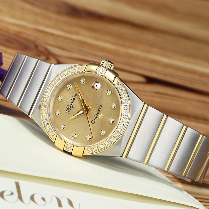 宝茄雷龙女士手表夜光防水石英表时尚镶钻钢带星座女表瑞士品牌正品超薄腕表 金色金面XZ1006优惠券
