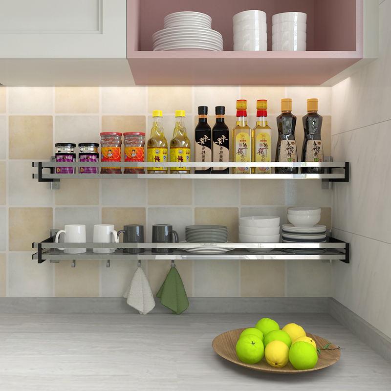 绩家(JIGA)厨房置物架壁挂不锈钢2层3层墙壁调味料收纳架厨房用品挂架 15宽40长单层优惠券