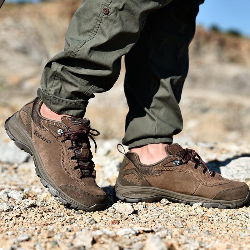 探路者(TOREAD) 户外情侣款男士防滑耐磨徒步鞋 TFAA91057 油泥/深橘红 41码优惠券