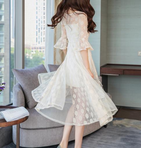 韩版收腰气质喇叭袖蕾丝连衣裙女优惠券