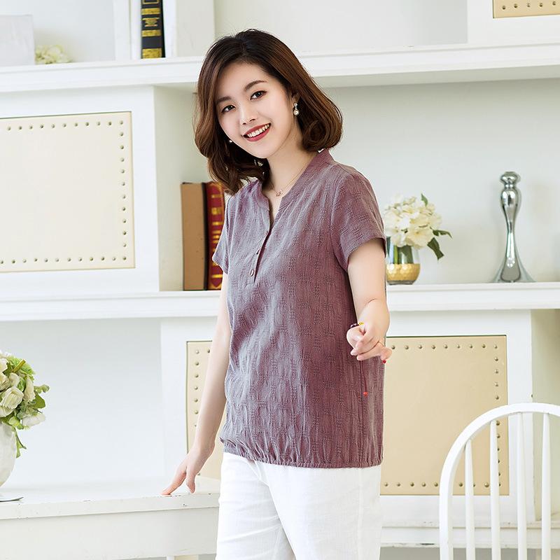 妈妈装棉麻短袖T恤新款中老年大码女装优惠券