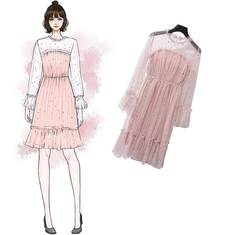 2019新款春装两件套套装蕾丝网纱连衣裙女装 YMZ8142优惠券
